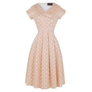Womens New Pastel Peach Polka Dot Vintage Retro 1950s Party Prom Dress