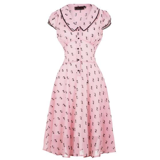 Voodoo Vixen Pink Cat Print 1940s Dress