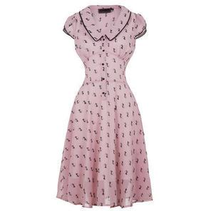 Womens New Pink Vintage Style 40s Style Tea Dress Retro Cat Print