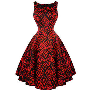 Hearts and Roses London Ravishing Red Tribal Print 50s Vintage Party Dress