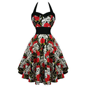 Womens Black Rose Skull Rockabilly 50s Vintage Pinup Flared Party Prom Dress