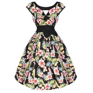 Womens Black Floral Tropical Rockabilly 50s Vintage Pinup Flared Party Prom Dres