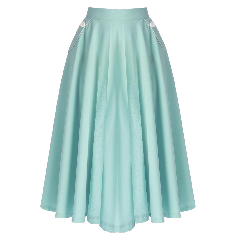 banned aqua blue midi skirt 1950s fashion starlet vintage