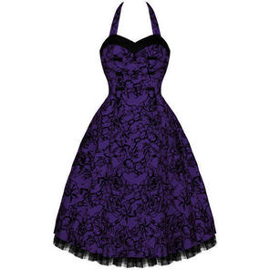 Hearts and Roses London Purple Tattoo 50s Gothic Vintage Party Prom Swing Dress
