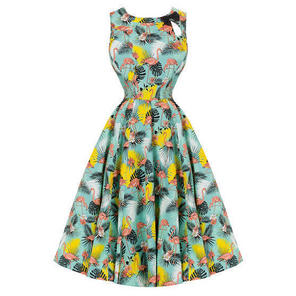 Womens Green Tropical Flamingo Rockabilly 50s Vintage Flared Party Prom Dress