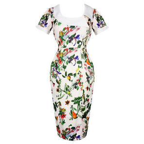 Nude Exotic Floral Bird Pinup Rockabilly Vintage 50s Style Fitted Pencil Dress