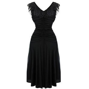 Womens Black 1930s Vintage Ethereal Cocktail Evening Party Prom Dress