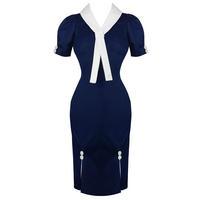 Womens New Blue Nautical Sailor Vintage 1950s Pinup Rockabilly Pencil Dress