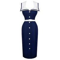 Womens New Navy Nautical Sailor Vintage 1950s Pinup Rockabilly Pencil Dress