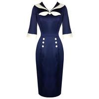 Womens New Nautical Satin Sailor Vintage 50s Pinup Rockabilly Pencil Dress