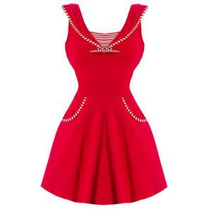 Womens Red Nautical Sailor Vintage 1950s Pinup Rockabilly Skater Mini Dress