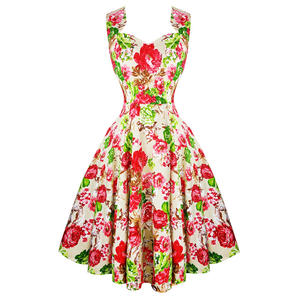 Hearts & Roses London Cream Floral Vintage Retro 1950s Flared Tea Dress UK