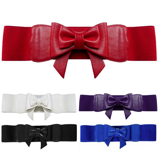 Womens Ladies New Wide Vintage 1950s Retro Waist Cincher Hour Glass Bow Belt UK
