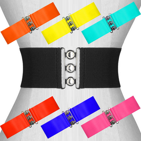 Womens Ladies New Wide Vintage 1950s Retro Waist Cincher Hour Glass Belt UK