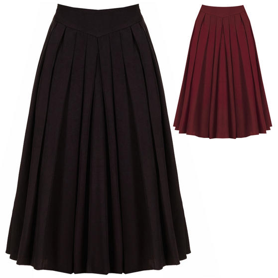 Womens Sexy 1950s Vintage Retro Rockabilly Swing Pleated Flared Midi Circle Skirt UK