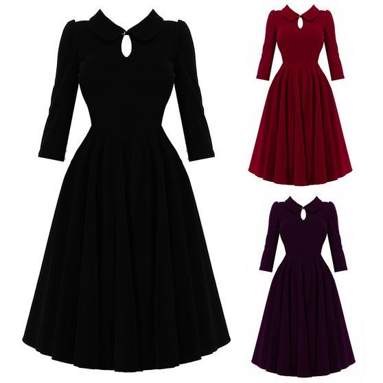 Hearts & Roses London Velvet Peter Pan 1950s Dress