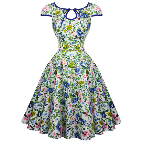 Hearts and Roses London Snow White Floral 1950s Dress
