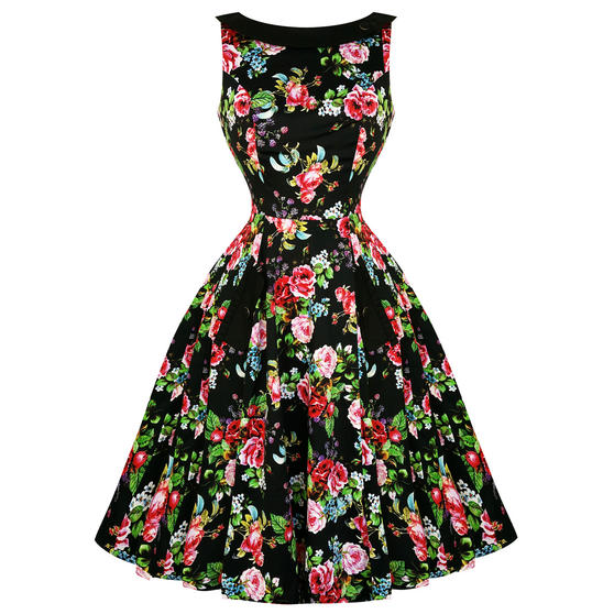 Hearts and Roses London Midnight Rose Garden 1950s Dress
