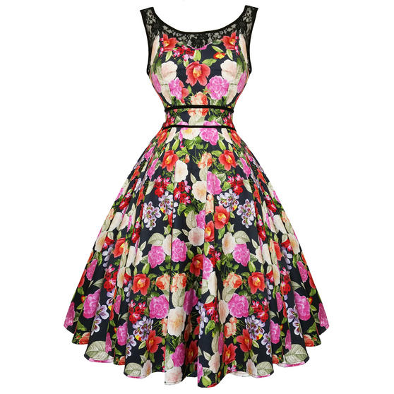 Hearts & Roses London Pretty Floral 1950s Dress