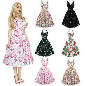 Flared Floral 1950s Dress