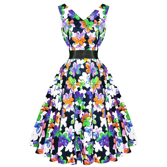 Hearts & Roses London Ravishing Floral 1950s Dress