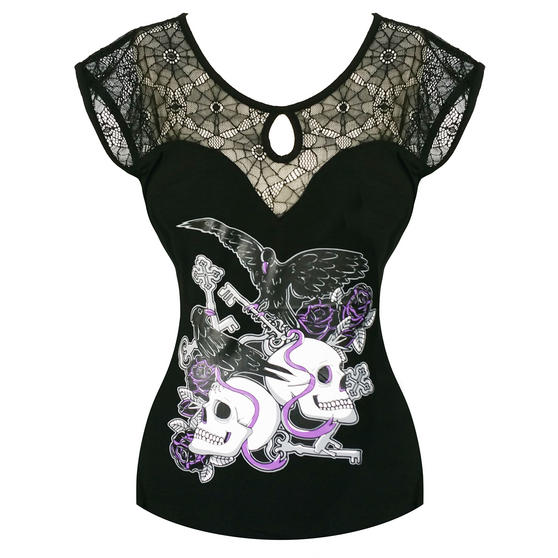 Womens Black Purple Crow Skull Print Lace Shoulder Long Tshirt Tunic Top UK