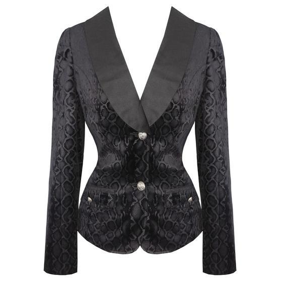 Womens Black Leopard Flock Gothic Rockabilly Smart Formal Blazer Jacket UK