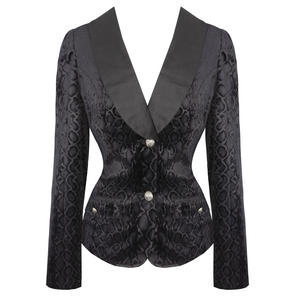 Womens Black Leopard Flock Gothic Rockabilly Smart Formal Blazer Jacket UK