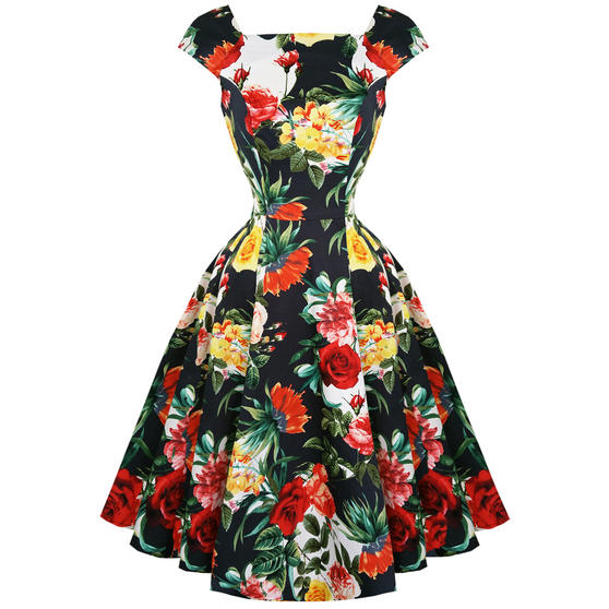 Hearts & Roses London Summer Rose Floral Retro 1950s Flared Party Tea Dress UK