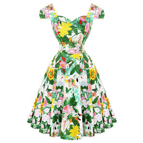 Hearts & Roses London Green Botanical 1950s Dress