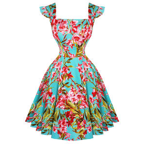 Hearts & Roses London Aqua Floral 1950s Summer