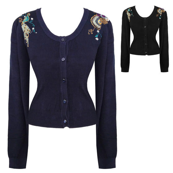 Womens Glamorous Peacock Embroidery 1950s Vintage Retro Cardigan Top UK