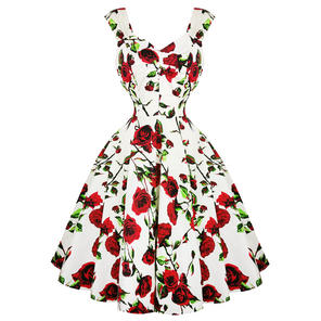 Hearts & Roses London White and Red Floral 1950s Dress