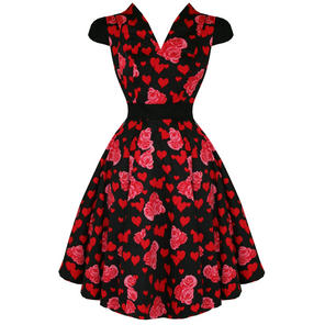 Hearts & Roses London Red Floral Heart 1950S Dress