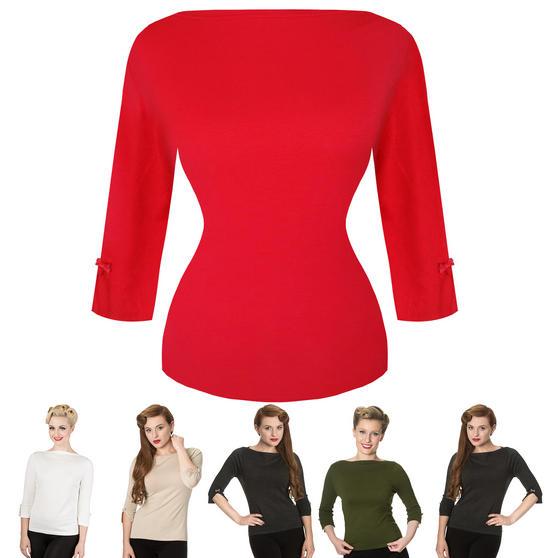 Women Ladies Plain Fine Knit 1940s 1950s Vintage Retro Sweater Jumper Top