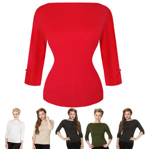 Women Ladies Plain Fine Knit 1940s 1950s Vintage Retro Sweater Jumper Top