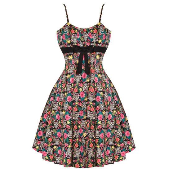 Womens Black Sugar Skull Rockabilly Retro Vintage 1950s Pinup Party Flared Dress