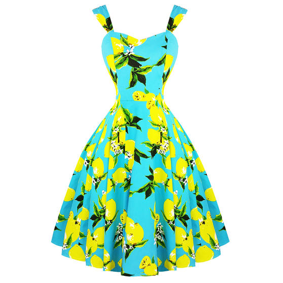 Hearts & Roses London Blue Lemon 1950s  Dress