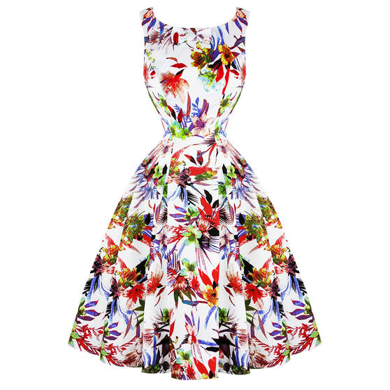 Hearts & Roses London White Liliy 1950s Dress