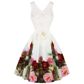 Hearts & Roses London White English Rose 1950 Dress
