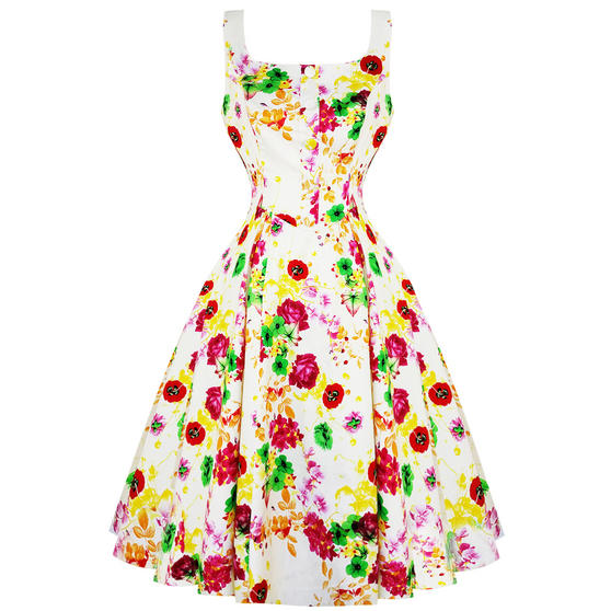 Hearts & Roses London White Floral 1950s Dress