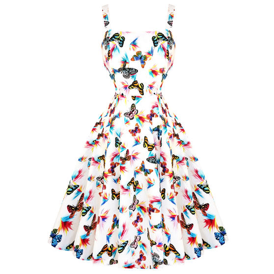 Hearts & Roses London White Butterfly 1950s Dress