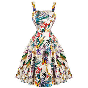 Hearts & Roses London Tropical Floral 1950s Dress