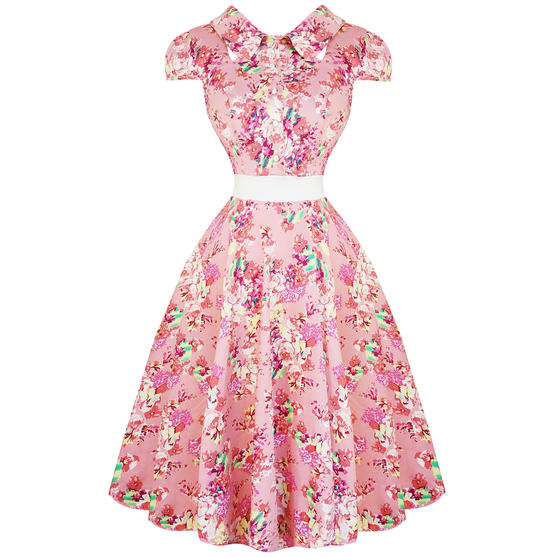 Hearts & Roses London Pink Floral Chintz 1950s Vintage Retro Flared Summer Dress