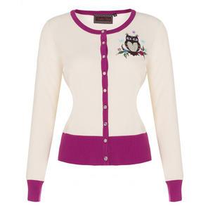 Voodoo Vixen Kylie Cream Magenta Owl Retro 1950s Vintage Cardigan Top