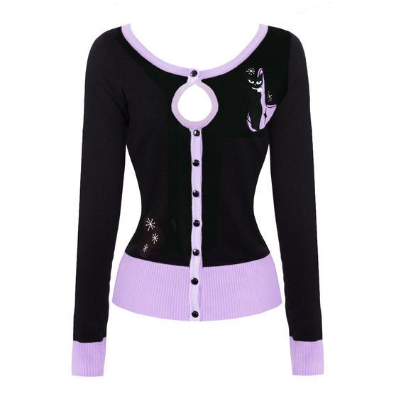 Voodoo Vixen Isabella Atomic Lilac Retro Kitty Cat 1950s Vintage Cardigan Top