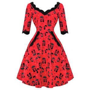 Voodoo Vixen Katnis Cat 1950s Dress