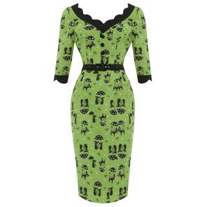 Voodoo Vixen Jade Cat Green Pencil Dress