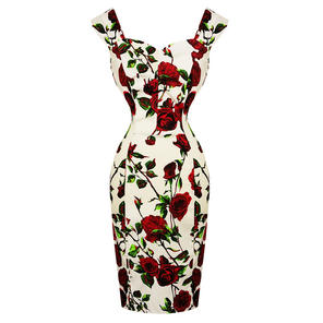 Hearts and Roses London Red Rose Pencil Dress