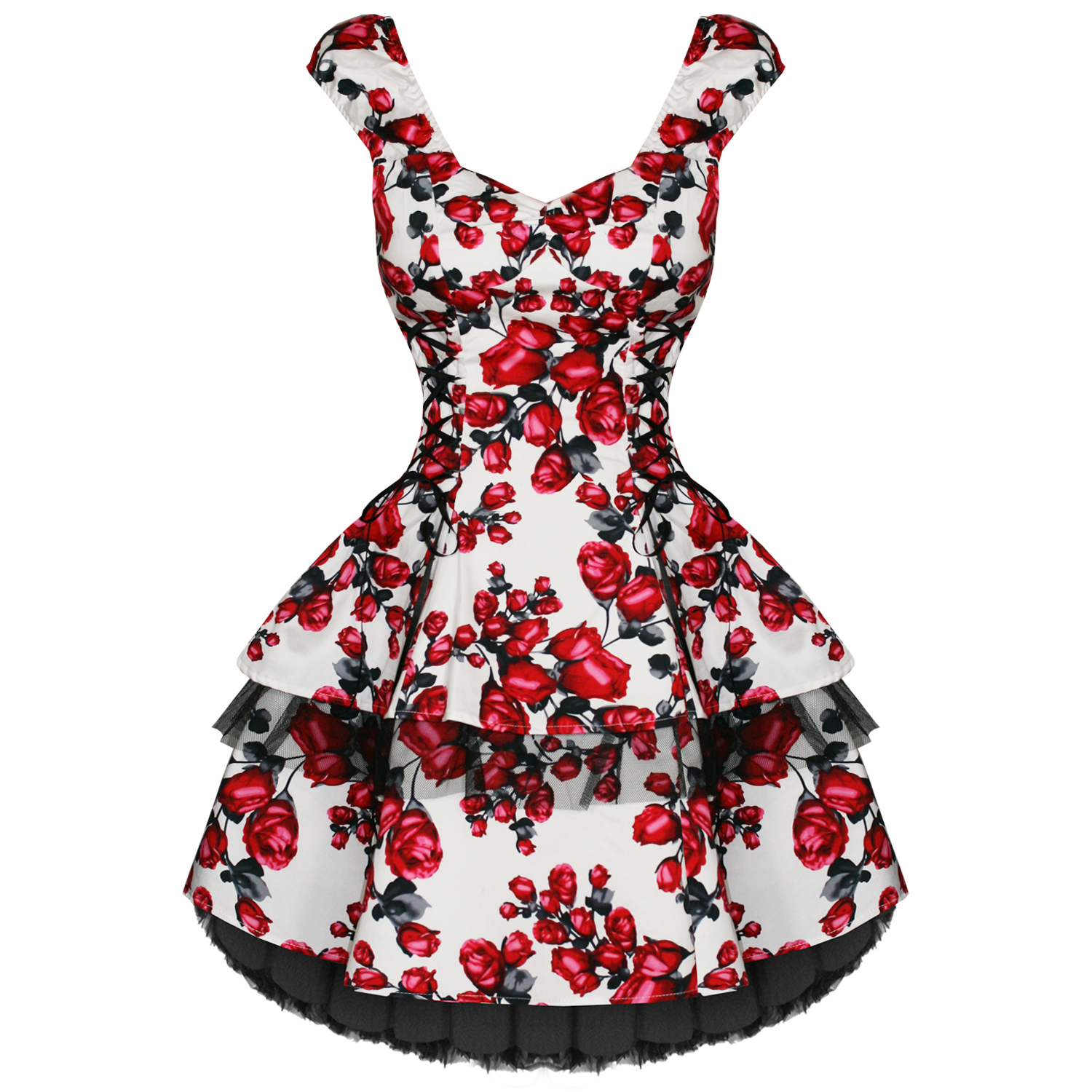 NEW LADIES WHITE PINK FLORAL RETRO VINTAGE 50S SWING PARTY PROM ...